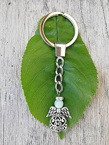 Kľúčenky - Kľúčenka s anjelikom s hlavičkou z amazonitu - 9470579_