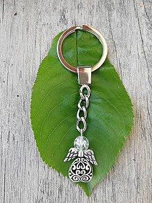 Kľúčenky - Kľúčenka s anjelikom s hlavičkou krištáľu - 9470581_