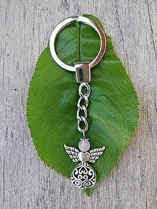 Kľúčenky - Kľúčenka s anjelikom s hlavičkou z ruženínu - 9470582_