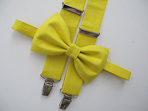 Doplnky - Pánsky motýlik a traky- žltý set - 9470646_