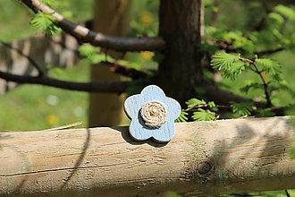 Prstene - Prsteň kvietok z dreva (Modrá) - 9473372_