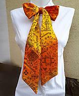 Šály - Čičmany modern folk-dámska hodvábna mašľa - 9471100_
