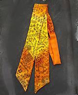 Šály - Čičmany modern folk-dámska hodvábna mašľa - 9471132_