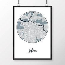 Grafika - ŽILINA, okrúhla, svetlomodrá - 9471476_