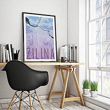 Grafika - ŽILINA, elegantná, modro-fialová - 9471496_