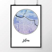 Grafika - ŽILINA, okrúhla, modro-fialová - 9471500_