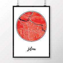 Grafika - ŽILINA, okrúhla, červená - 9471543_