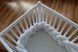 Textil - Biely zapletaný mantinel, rôzne farby, dĺžka 50-500cm - 9471101_