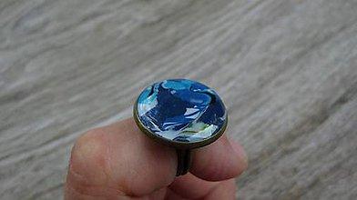 Prstene - Prsteň väčší guľatý (Modrý mozaikový č. 2020) - 9472567_