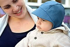 Detské čiapky - Baby čepiec 100% ľan-petrolejový - 9473952_