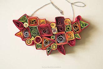 Náhrdelníky - Quilling náhrdelník vo veselých farbách - 9472493_