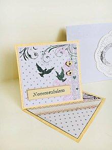 Papiernictvo - Pohľadnica k svadbe - hrdličky - 9476618_