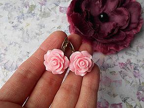 Náušnice - Ružové ružičky - 9475979_
