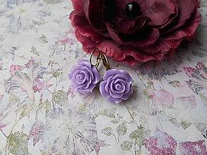Náušnice - Fialkové ružičky - 9475985_