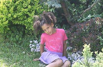 Tričká - Ružové batikované detské srdiečko - 9476716_