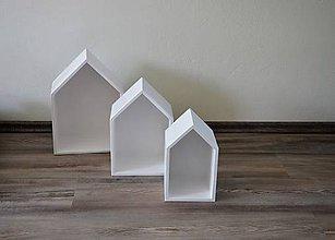 Nábytok - drevené domčeky - poličky (Biele) - 9474308_