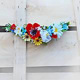 Vlasová ozdoba, štvrťvenček s makom a lúčnymi kvetmi