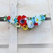 Ozdoby do vlasov - Vlasová ozdoba, štvrťvenček s makom a lúčnymi kvetmi - 9478560_