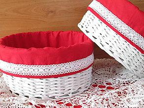 Košíky - Košíky - Okrúhle s červenou košieľkou - 9477722_