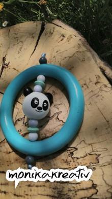 Detské doplnky - Drevené hryzatko modré panda - 9477325_