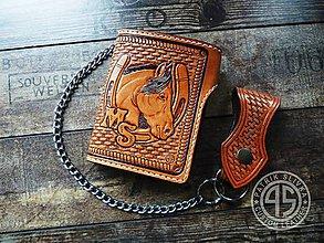 Peňaženky - Ručne robená kožená peňaženka - 9477371_