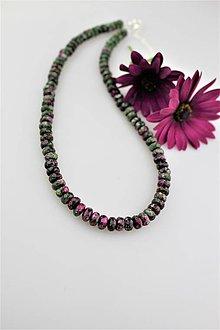 Náhrdelníky - rubín v zoisite náhrdelník so striebrom - 9477484_