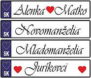 Tabuľky - Svadobná tabuľka na auto - špz 8a - 9477597_