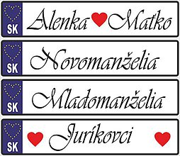 Tabuľky - Svadobná tabuľka na auto - špz 8a (Novomanželia) - 9477597_