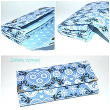 Peňaženky - Peňaženka čičmany modrá - 9479614_