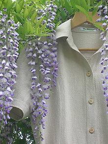 Šaty - Safari šaty z ľanu - 9477646_