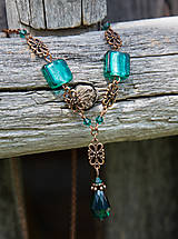 - Smaragdovozelený vinutkový náhrdelník - 9478991_