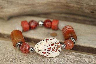 Náramky - Boho náramok z minerálov mix orange - 9477208_