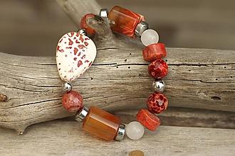 Náramky - Boho náramok z minerálov mix orange - 9477210_