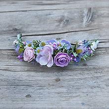 Ozdoby do vlasov - Fialková svadobná sada- pierka a venčeky - 9480519_