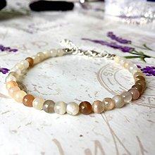 Náramky - Moonstone Delicate Bracelet / Jemný náramok mesačný kameň mix, oceľ, AG925 /0255 - 9481446_