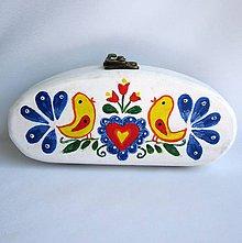 Krabičky - Drevené puzdro-folk-biele-ručne maľované - 9483414_