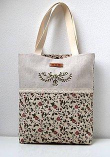 Veľké tašky - Plátená taška s čipkou - 9482178_