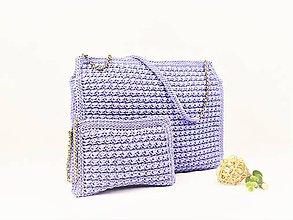 Kabelky - Háčkovaný set - veľká kabelka/taška + listovka Lavender - 9483051_