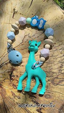 Detské doplnky - Silikónové/drevené hryzatko žirafa modrá - 9482260_