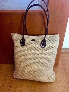 Veľké tašky - háčkovaná prírodná taška - 9482125_