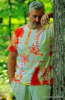 Tričká - Pánske tričko batikované, maľované, etno SOL - 9480390_