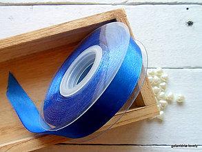 Galantéria - stuha saténová-modrá-šírka 15mm - 9480536_