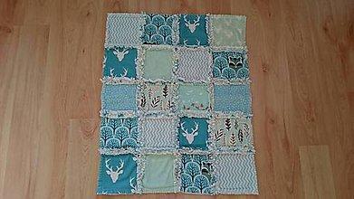 Textil - Detská deka modrý les 63x52cm - 9483081_