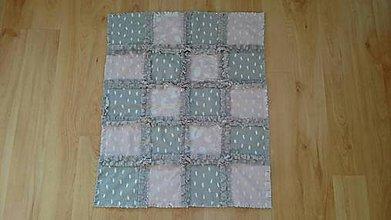 Textil - Detská deka sivá ružová púdrová 62x52cm - 9483140_