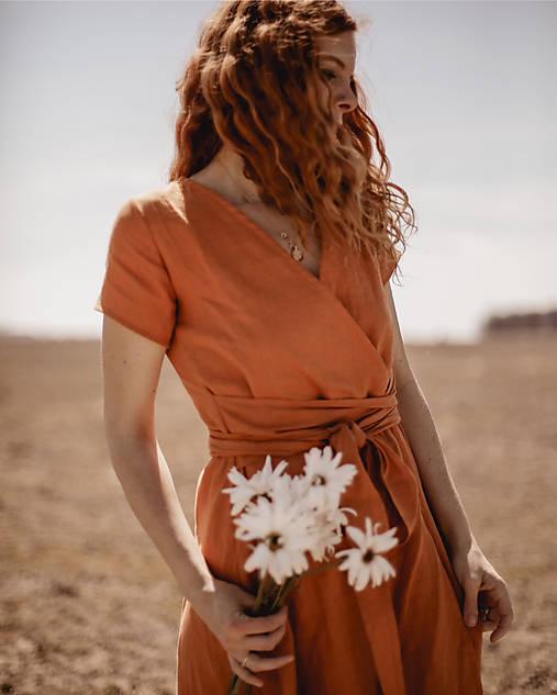 Dámske ľanové zavinovacie šaty CLAIRE - dostupné v 18 farbách