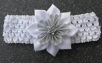Detské doplnky - Detská elastická čelenka bielo strieborná aj na krst - 9482857_