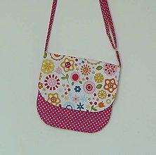 Detské tašky - Detská kabelka kvetinková  (biely podklad) - 9481199_