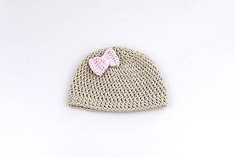 Detské čiapky - Béžová čiapka s mašličkou EXTRA FINE - 9480882_