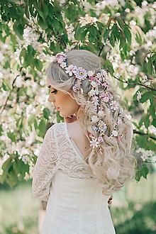 Ozdoby do vlasov - Romantický nežný kvetinový pletenec - 9481038_