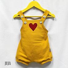 Detské oblečenie - Žlté opaľovačky so srdiečkom - 9483221_